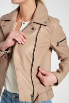 7 For All Mankind Zip Front Classic Leather Jacket In Nude Pink