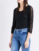 Claudie Pierlot Trade lace-trim linen top