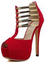 Katypeny Ladies Womens Platform Peep Toe Stiletto High Heel T-Strap Dress Sandals For Evening Party 8.5 US M