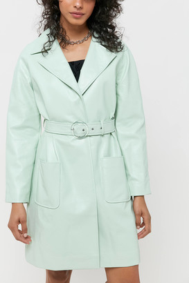 Veda UO Exclusive Faux Leather Belted Coat