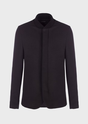 Emporio Armani Plain Coloured Jersey Jacket With Guru Collar