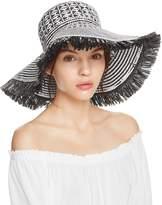 Aqua Geometric Weave Floppy Sun Hat - 100% Exclusive