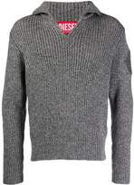 Diesel Red Tag ribbed zipped jumper