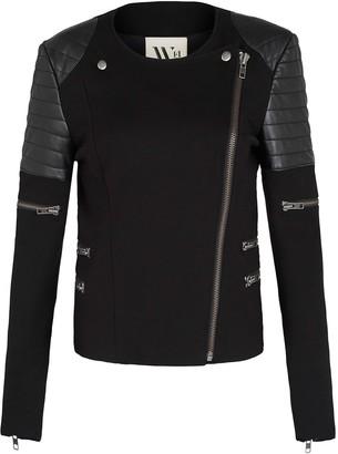 Greenwich St Motor Jacket In Italian Ponte & Black Leather