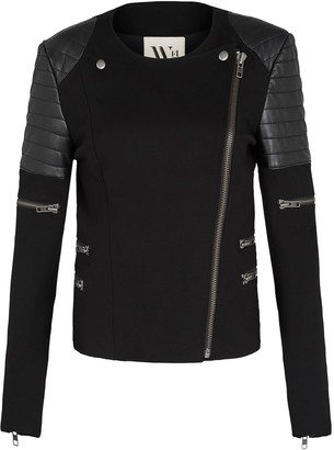 West 14th Greenwich St Motor Jacket In Italian Ponte & Black Leather