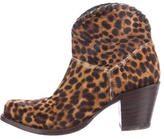 Alice + Olivia Ponyhair Square-Toe Ankle Boots