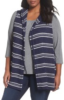 Sejour Plus Size Women's Hooded Stripe Vest