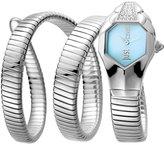 Just Cavalli 22mm Glam Chic Coil Bracelet Watch, Silvertone
