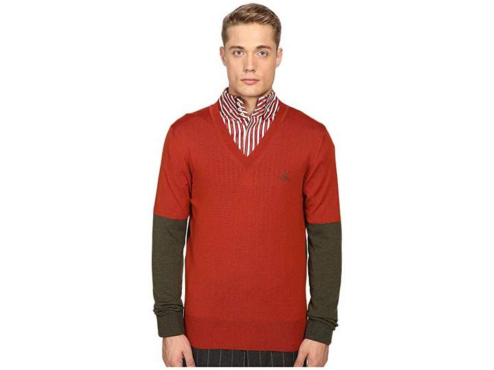 Vivienne Westwood Block Classic V-Neck Sweater Men's Sweater