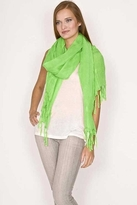 LoveQuotes Scarves Love Quotes Linen Knotted Fringe Scarf in Daiquiri