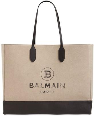 Balmain Canvas & Coated Canvas Tote Bag