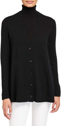 Lafayette 148 New York Cashmere Button-Front A-Line Cardigan
