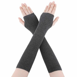 Fashine Women Arm Gloves - Winter Long Fingerless Mittens Knitted Thumb Hole Arm Warmer For Women And Ladies