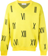 Gosha Rubchinskiy numbers V-neck sweater - men - Cotton - XL