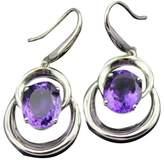 Jade Angel 925 Silver 8X10mm Oval Blue Topaz Dangle Earrings