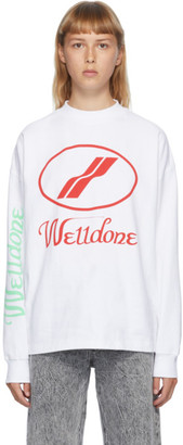 we11done White Logo Long Sleeve T-Shirt