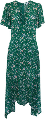 Jovonna London Green Coleen Floral Printed Lace Asymmetrical Maxi Dress - UK8 - Green