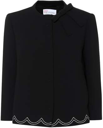 RED Valentino Embroidered crepe jacket