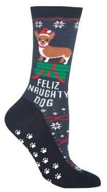 Hot Sox Feliz Naughty Dog Non-Skid Crew Socks