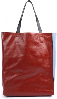 Marni Red And Blue Leather Museum Shopper Bag