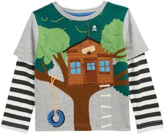 Boden Kids' Lift the Flap Tree House Long Sleeve T-Shirt