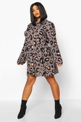 boohoo Plus Leopard Print High Ruffle Neck Smock
