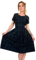 Ladies Run & Fly 50s Retro Black Watch Tartan Plaid Vintage Tea Party Dress