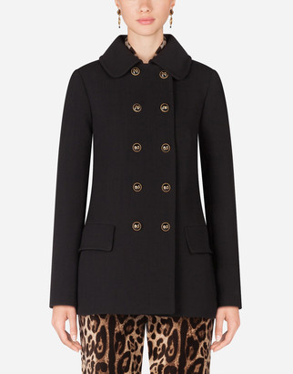 Dolce & Gabbana Basketweave Pea Coat With Decorative Buttons