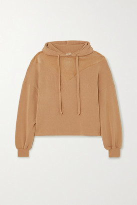 YEAR OF OURS Paneled Modal-blend And Velour Hoodie - Beige