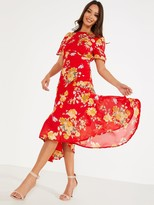 Quiz Chiffon Floral Midi Ruched Slit Dress - Red/Yellow