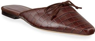 STAUD Gina Mock-Croc Flat Mules