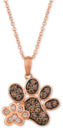 "LeVian Le Vian Nude & Chocolate Diamond Paw Prints 20"" Pendant Necklace (3/8 ct. t.w.) in 14k Rose Gold"