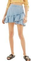 Topshop Women's Ruffle Denim Miniskirt