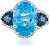 Effy Jewelry Effy Ocean Bleu 14K White Gold Blue Topaz and Diamond Ring, 9.58 TCW