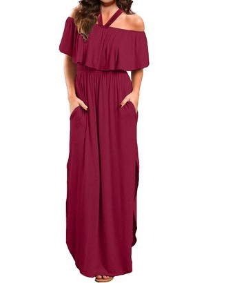 ACHIOOWA Women Halter Dress Off Shoulder Maxi Dress Long Ruffled Backless Ladies Party Prom Dress Cocktail Sundresses D-Wine Red-A19381 Medium