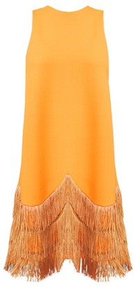 Lela Rose Sleeveless Fringe-Hem Shift Dress