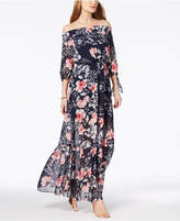 Vince Camuto Printed Off-The-Shoulder Maxi Dress