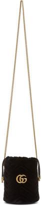 Gucci Black Mini Velvet GG Marmont Bucket Bag