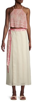 Free People Wrapped Around You 2-Piece Crop Tank Top Midi Wrap Skirt Set
