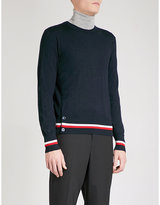 Moncler Gamme Bleu Striped-hem cashmere and silk-blend jumper