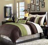 Chezmoi Collection 8-Piece 104 by 92-Inch Luxury Stripe Comforter Set, King, Beige, Green and Brown