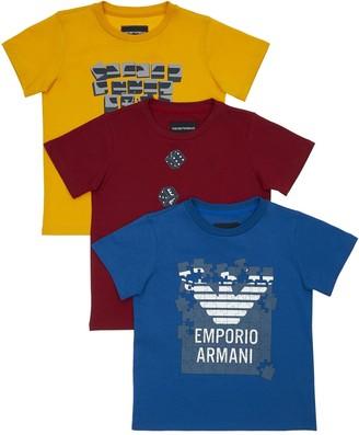 Emporio Armani Set Of 3 Printed Cotton Jersey T-Shirts