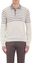 Brunello Cucinelli Men's Striped Long-Sleeve Polo Shirt-WHITE