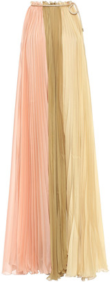 Alberta Ferretti Pleated Color-block Voile Midi Dress