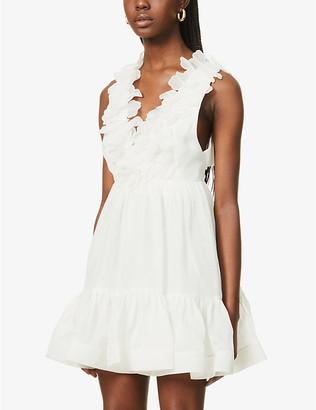 Zimmermann Lovestruck Garland linen and silk-blend mini dress