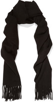 Acne Studios Canada Narrow Fringed Wool Scarf - Black