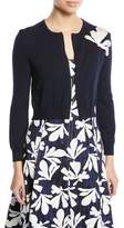 Oscar de la Renta Long-Sleeve Button-Front Wool Cardigan w/ Embroidered Seaweed Detail