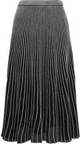 Proenza Schouler Two-tone Ribbed Lurex Midi Skirt - Silver