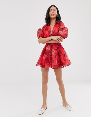 C/Meo Collective Variation short sleeve foral mini dress