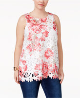 Charter Club Plus Size Printed Lace Tunic, Created for Macy's